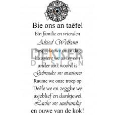 Tekstbord Bie Oans an Taefel 60 X 40 CM
