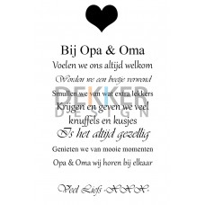 Tekstbord Opa en Oma 60 X 40 CM