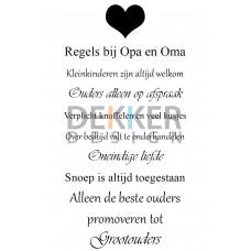 Tekstbord Regels bij Opa en Oma 40 X 30 CM